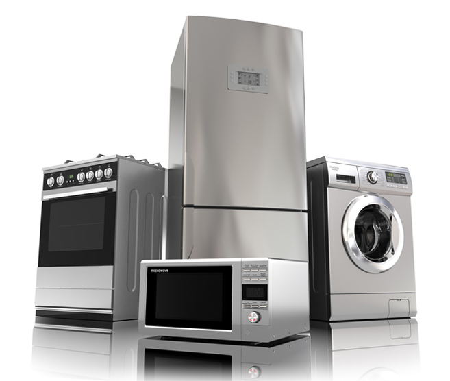 washing machine, oven, microwave & fridge